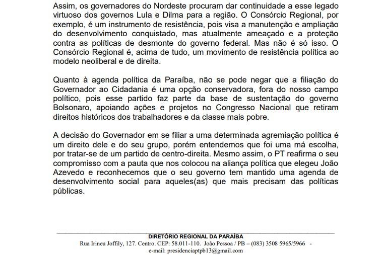 resolução PT - Com críticas ao Cidadania, PT da Paraíba decide permanecer no governo João Azevêdo