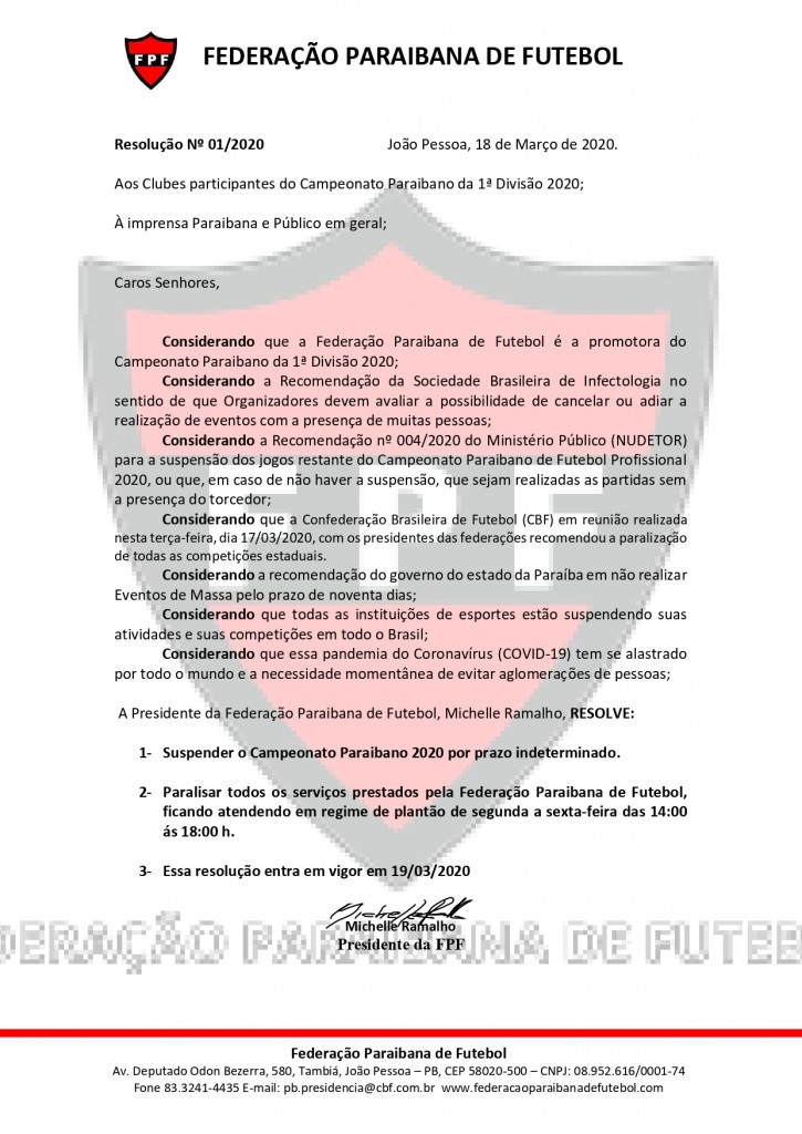 resolução fpf suspende paraibano - Federação Paraibana de Futebol decide suspender Campeonato Estadual