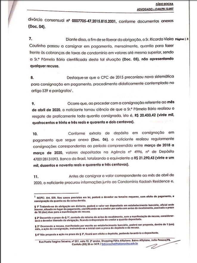 3 - Crime de apropriação indébita: Ricardo Coutinho deu entrada em Notícia Crime contra Pamêla Bório - VEJA DOCUMENTO