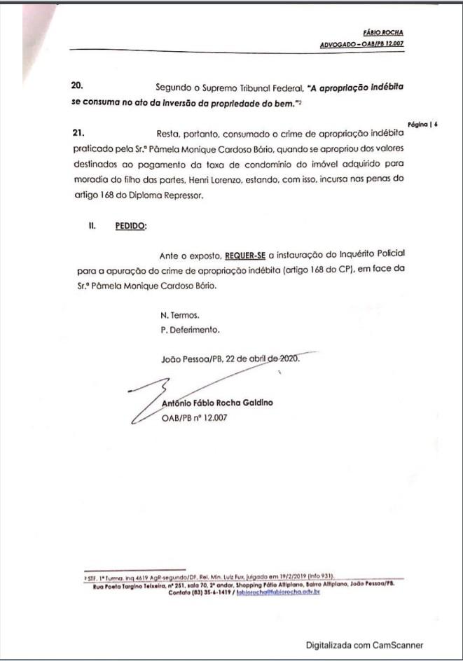 6 1 - Crime de apropriação indébita: Ricardo Coutinho deu entrada em Notícia Crime contra Pamêla Bório - VEJA DOCUMENTO