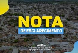 Prefeitura de Alhandra esclarece que pregão já estava anulado antes da justiça acatar petição do MPPB