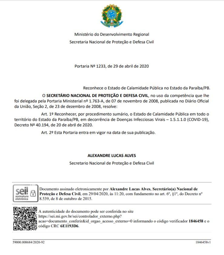 Capturar 143 - EXCLUSIVO: Secretário Nacional de Proteção e Defesa Civil reconhece estado de calamidade pública em todo estado da Paraíba