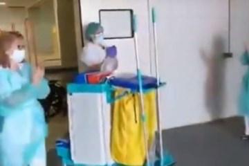 Capturar 8 - Com agradecimento médicos e enfermeiros aplaudem profissionais da limpeza