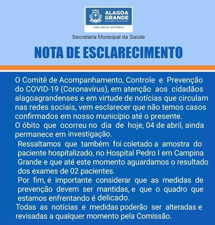 WhatsApp Image 2020 04 05 at 12.33.08 - URGENTE...CINCO MORTES NAS ÚLTIMAS HORAS NA PARAÍBA: Dois óbitos já confirmados do Covid-19 e três aguardando resultados - VEJA OS CASOS
