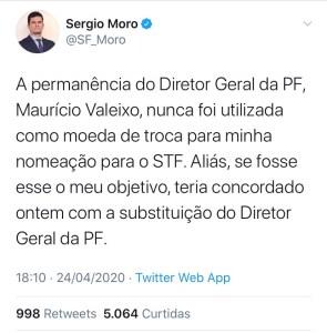 WhatsApp Image 2020 04 24 at 18.21.57 295x300 - Moro rebate fala de Bolsonaro sobre indicação para vaga no STF: permanência de Valeixo nunca foi usada como moeda de troca para minha nomeação