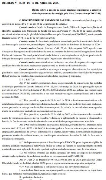 decreto - DIÁRIO OFICIAL: João prorroga isolamento social e flexibiliza funcionamento de óticas e concessionárias; LEIA