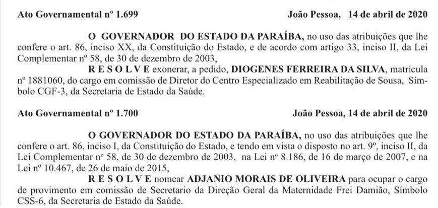 hosp - Governador muda direções dos Hospitais Clementino Fraga, Maternidade Frei Damião e do Centro de Reabilitação de Sousa