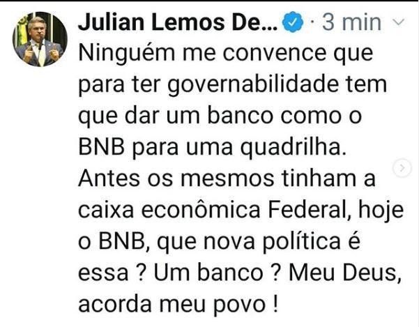 """juju - Julian volta a criticar política federal que prioriza bancos: """"Se você votou em mim para me calar diante disso, me perdoe, em 2022 vote em outro."""""""