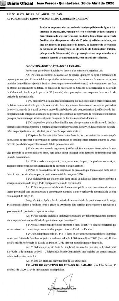 lei 11676 - João Azevêdo sanciona lei que proíbe despejo, corte de água, luz, e telefone durante período de pandemia