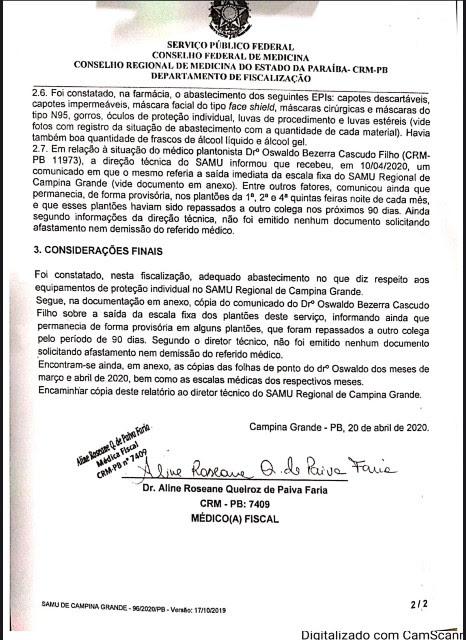 unnamed 5 2 - CRM da Paraíba atesta medidas de segurança no SAMU de Campina Grande
