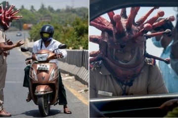 Policial usa 'capacete de coronavírus' para assustar motoristas