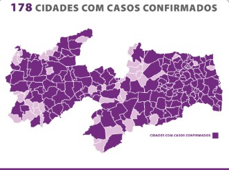178 cidades - Paraíba confirma 315 novos casos de Covid-19 e 14 óbitos neste domingo