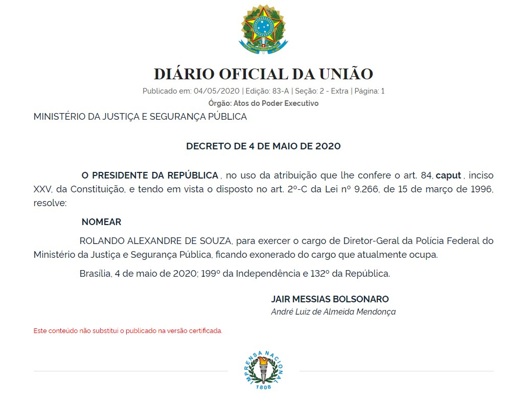 4207 5F94AB53F6B1296F - Subordinado de Ramagem, Rolando Alexandre é nomeado diretor-geral da Polícia Federal