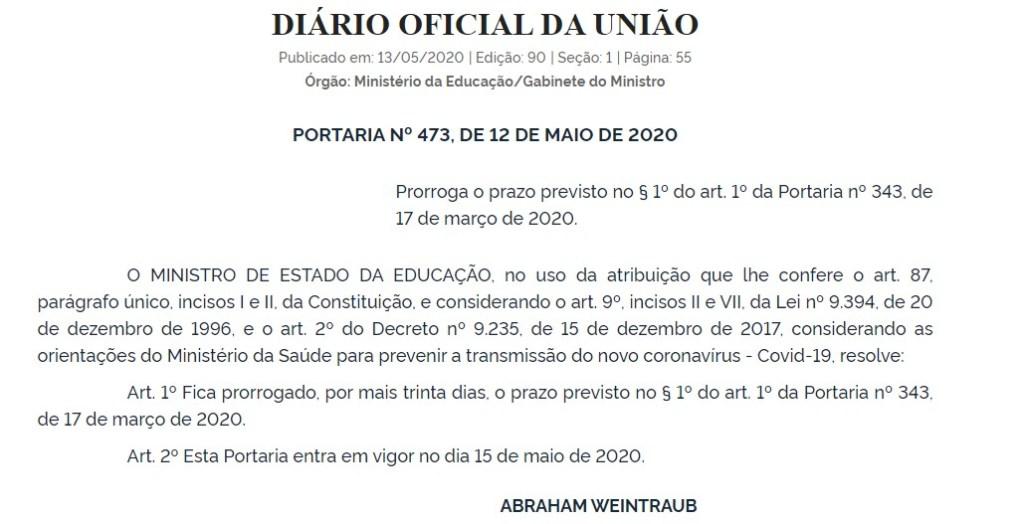 Capturarj 1 1024x524 - MEC autoriza a prorrogação de suspensão de aulas presenciais em universidades e IFs