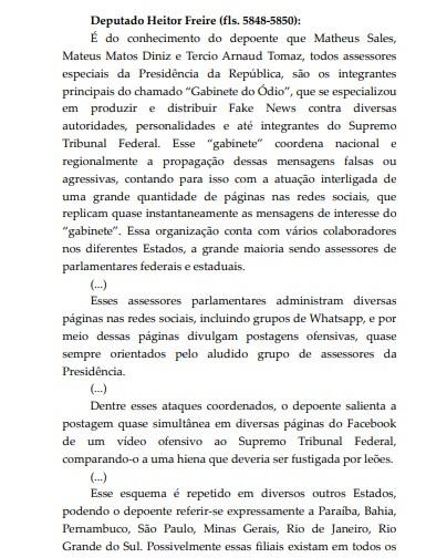 Paraíba ódio - Investigação do STF contra fake news aponta 'gabinete do ódio' na Paraíba; VEJA TRECHO