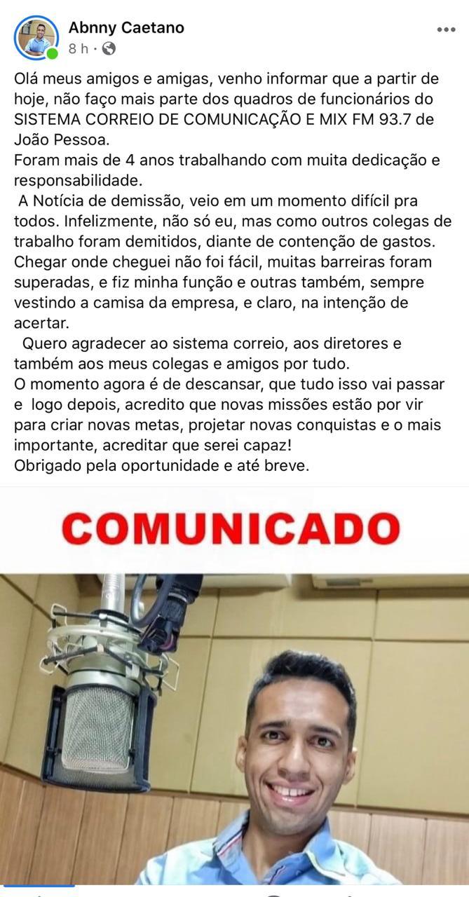 WhatsApp Image 2020 05 25 at 22.15.58 - Radialista Abnny Caetano anuncia saída do Sistema Correio