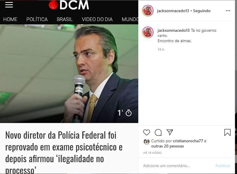 """jac - """"Tá no governo certo. Encontro de almas"""" diz Jackson Macêdo sobre novo diretor da PF do Rio que foi reprovado no psicotécnico da PRF"""