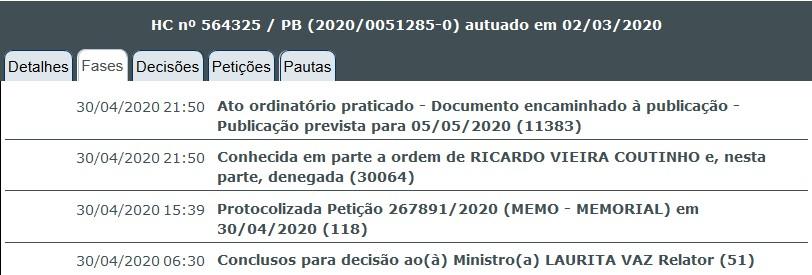 screenshot 2020 05 01 stj   consulta processual - STJ nega pedido e Ricardo Coutinho vai continuar usando tornozeleira eletrônica