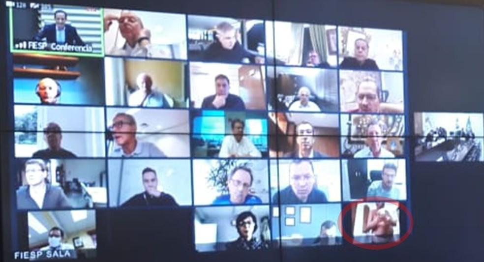 videoconferencia bolsonaro fiesp - 'PELADÃO': Empresário aparece tomando banho durante videoconferência com Bolsonaro