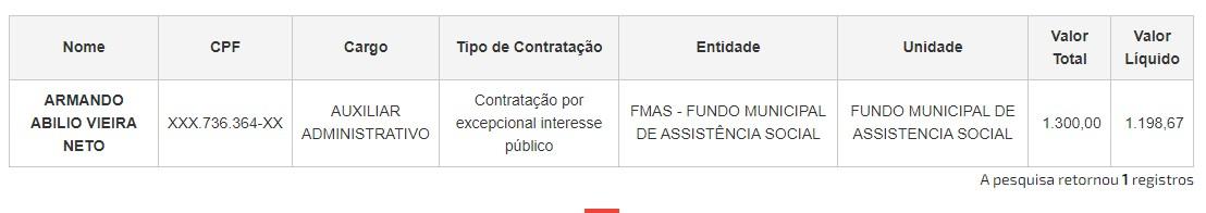 Armando Abilio Vieira Neto - Neto de ex-deputado federal e servidor da PMJP aparece como beneficiário de auxílio emergencial