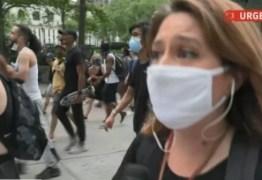 Repórter da GloboNews é empurrada ao vivo por policial nos EUA