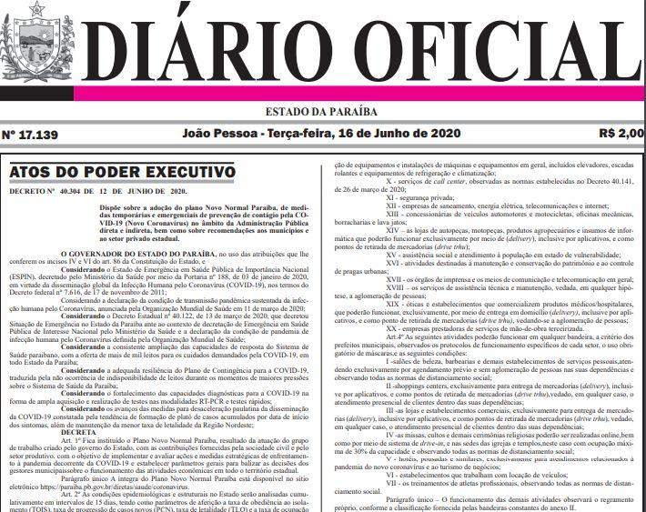 Capturar 53 - DIÁRIO OFICIAL: Publicado Decreto que determina o 'Novo Normal' na Paraíba