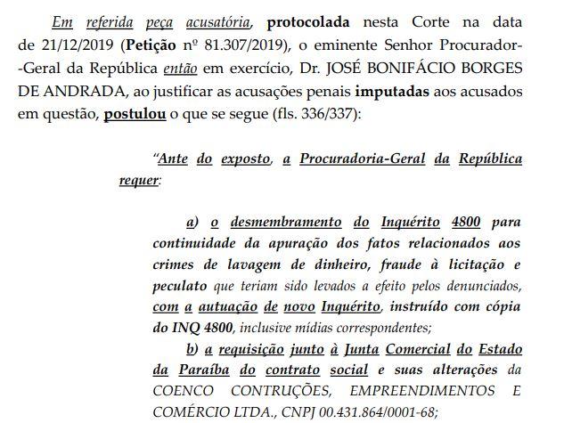 PRINT1 - CERCO SE FECHA NA PÉS DE BARRO: STF instaura novo inquérito para investigar Wilson Santiago por lavagem de dinheiro, fraude a licitação e peculato; LEIA