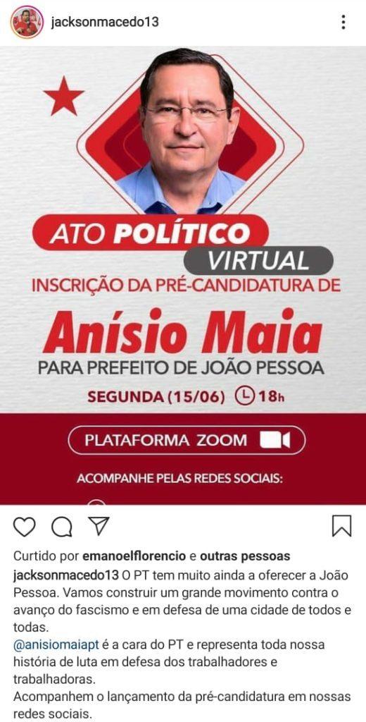 WhatsApp Image 2020 06 14 at 21.30.18 520x1024 1 - ELEIÇÕES 2020: Executiva estadual do PT anuncia pré-candidatura de Anísio Maia para prefeito de JP
