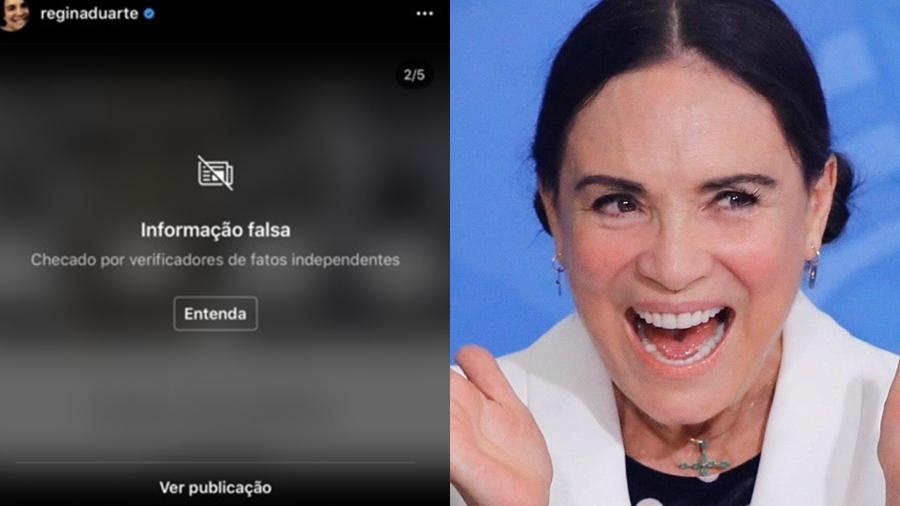 Instagram põe alerta de notícia falsa em nova postagem de Regina Duarte