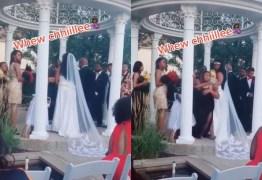 Mulher invade casamento e diz que está grávida do noivo; VEJA VÍDEO