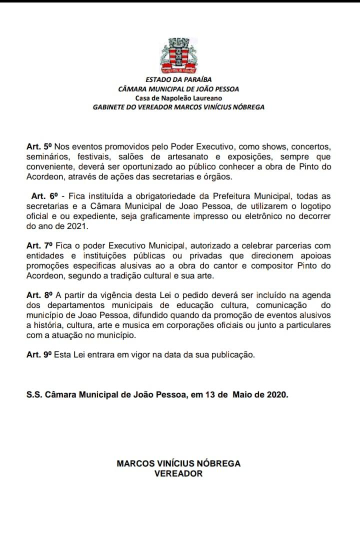 """B - HOMENAGEM: Câmara aprova projeto de lei que transforma 2021 o """"Ano cultural Pinto do Acordeon"""""""
