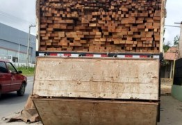 Sem nota fiscal: Carga de madeira avaliada em R$ 60 mil é apreendida, em Solânea