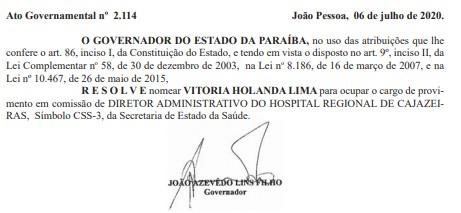 JOÃO AZEVÊDO - Recém-nomeada para a direção do Hospital Regional de Cajazeiras, filha de vereador aparece em lista do auxílio emergencial