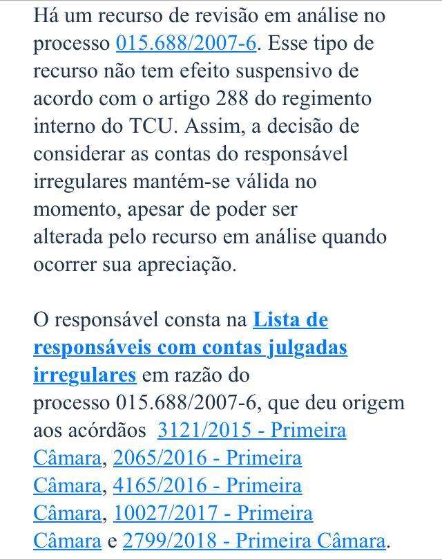 WhatsApp Image 2020 07 24 at 10.26.30 1 - 'SEM EFEITO SUSPENSIVO': TCU não decidiu sobre recurso e Cícero continua em lista de 'contas irregulares com implicância eleitoral'; LEIA NOTA
