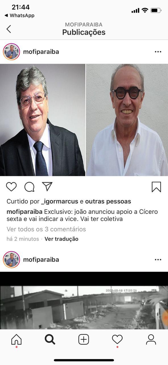 WhatsApp Image 2020 08 19 at 22.02.56 - ELEIÇÕES 2020: João Azevêdo deve anunciar apoio a Cicero Lucena e indicar vice
