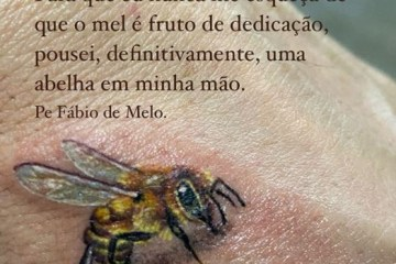 abelha - SURPREENDENDO FÃS: Padre Fábio de Melo expõe tatuagem minimalista
