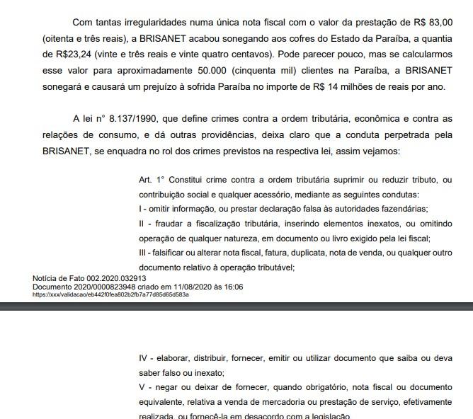 brisanet2 - NOTÍCIA-CRIME: associação denuncia Brisanet ao Ministério Público por suposta sonegação com prejuízo estimado em R$ 14 milhões por ano na Paraíba