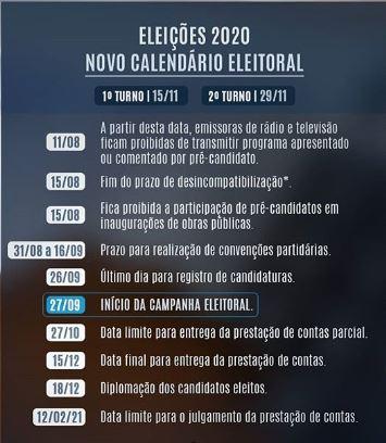 calend - ELEIÇÕES 2020: confira novo calendário eleitoral