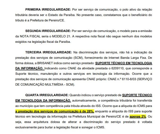 irregularidades1 - NOTÍCIA-CRIME: associação denuncia Brisanet ao Ministério Público por suposta sonegação com prejuízo estimado em R$ 14 milhões por ano na Paraíba