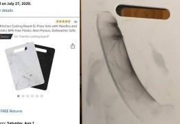 Mulher compra tábua de cozinha e se surpreende com desenho na peça