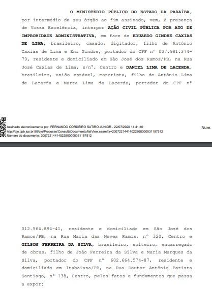 DECISÃO 4 - MP pede condenação do prefeito de São José dos Ramos por improbidade administrativa