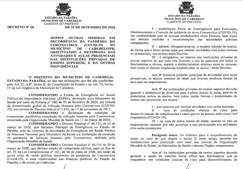 DECRETO CABEDELO - Cabedelo libera aulas presenciais em instituições privadas de ensino superior