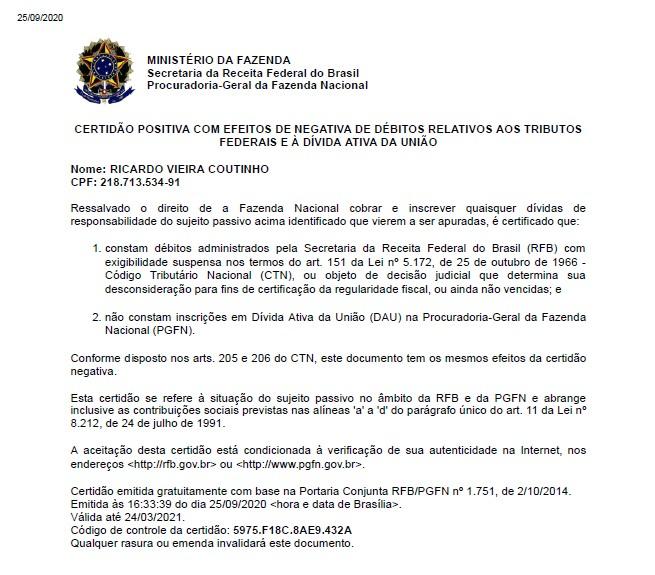 Sem título 1 - EXCLUSIVO: Comprovante de quitação eleitoral de Ricardo Coutinho aponta que MP se equivocou