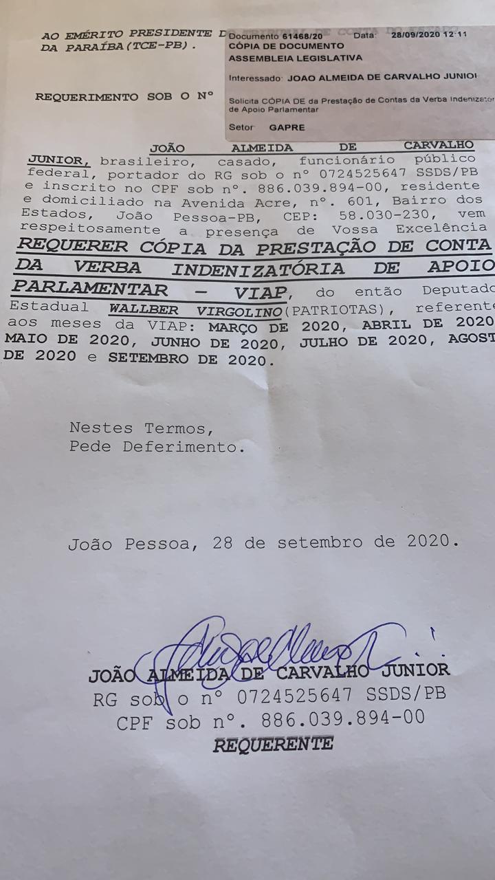 """WhatsApp Image 2020 09 30 at 11.33.02 - """"Além de despreparado e oportunista, é corrupto"""" João diz que vai provar que Walber pratica 'rachadinha' na ALPB"""