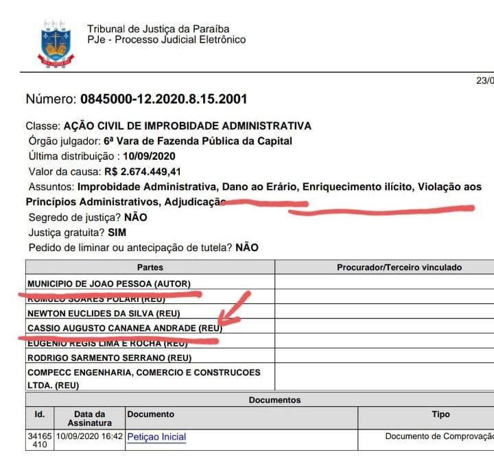 açao cassio andrade e1601384187208 - IMPROBIDADE ADMINISTRATIVA: Cássio Andrade vira réu em ação movida pela Prefeitura de João Pessoa; Veja o documento