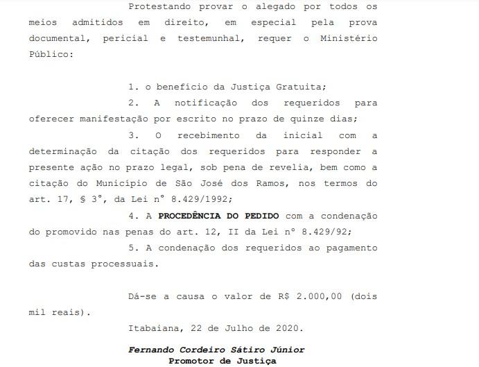 decisão fernando1 - MP pede condenação do prefeito de São José dos Ramos por improbidade administrativa