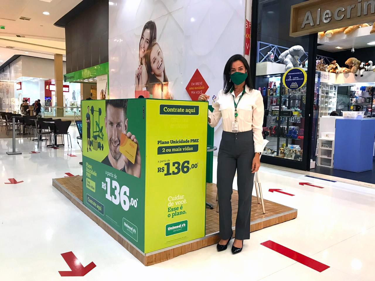 estande unimed 2 - ESPAÇO EXCLUSIVO: Unimed-JP monta estande de vendas no Mangabeira Shopping