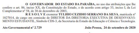 """exoneração - """"Ninguém se perde na volta"""", diz Thulio Serrano, em nota, após exoneração do Governo do Estado"""