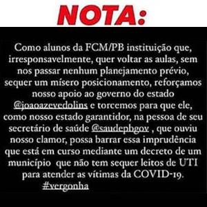 nota 1 300x300 - Alunos de faculdade em Cabedelo usam redes sociais para protestar contra retorno de aulas presenciais; veja