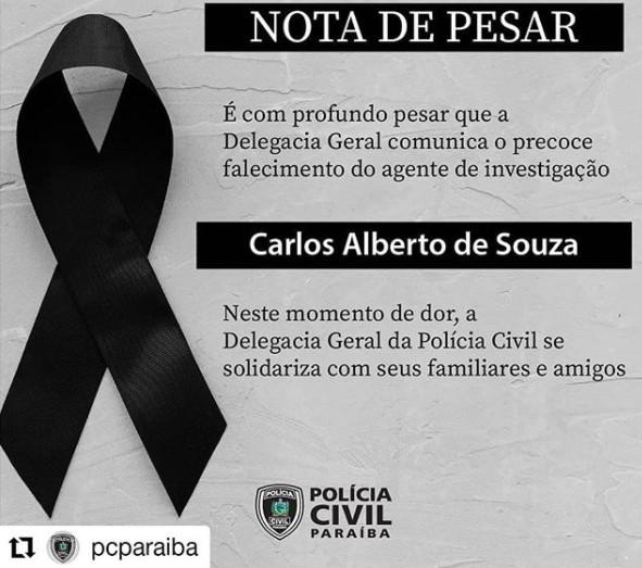 pc - Polícia Civil emite nota de pesar pela morte do agente de investigação Carlos Alberto